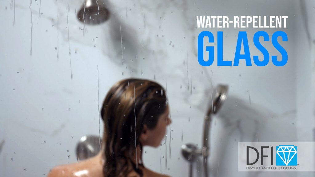 Diamon-Fusion shower glass with water beads