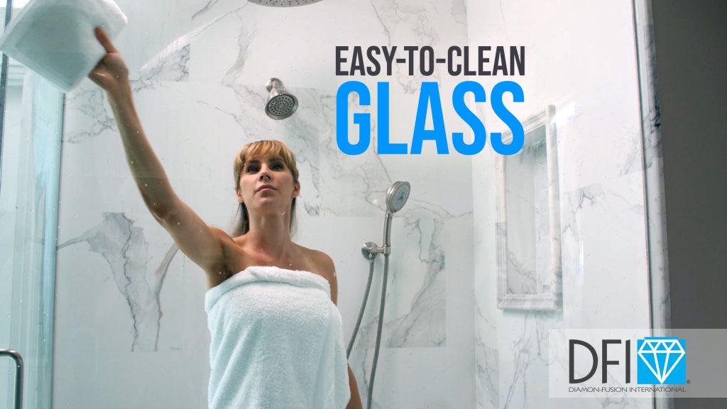 Woman wiping Diamon-Fusion glass